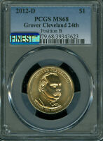 2012-D GROVER CLEVELAND 24TH DOLLAR PCGS MINT STATE 68 POS-B MAC FINEST MAC SPOTLESS