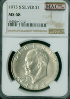 1973-S EISENHOWER SILVER DOLLAR NGC MINT STATE 68 PQ 2ND FINEST MAC SPOTLESS 2 FINER