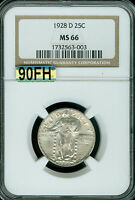 1928-D STANDING LIBERTY QUARTER NGC MAC MINT STATE 66 90FH FINEST REGESTRY
