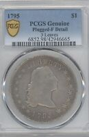 1795 FLOWING HAIR DOLLAR, PCGS  FINE DETAILS, PLUGGED