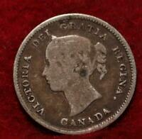 1884 CANADA 5 CENTS SILVER FOREIGN COIN