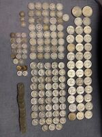 HUGE LOT SILVER COINS  BARBER  PEACE  ALMOST 200 COINS  1 DA