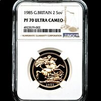 1985 ELIZABETH II GOLD PROOF DOUBLE SOVEREIGN TWO POUNDS 2 NGC PF70 ULTRA CAMEO