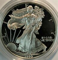 1999 P ONE OUNCE PROOF SILVER EAGLE. WITH OGP WITH COA BOX A