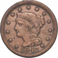 TOUGH   1847 BRAIDED HAIR LARGE CENT   US EARLY COPPER COIN