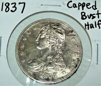1837 CAPPED BUST HALF DOLLAR SILVER COIN DETAILS CLEANED