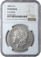 1896-S MORGAN DOLLAR $1 - NGC CERTIFIED VF-DETAILS - 90 SILVER COIN