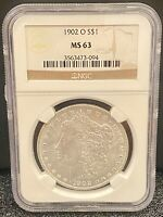 MORGAN DOLLAR $1 1902 O NGC GRADED MINT STATE 63 90 SILVER UNCIRCULATED U.S. MINT COIN