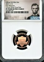 2021 S LINCOLN CENT FR FROM 7 COIN SILVER SET NGC. PF70 RD U
