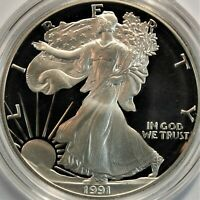 1991 S ONE OUNCE PROOF SILVER EAGLE. WITH OGP BOX COA AND CL