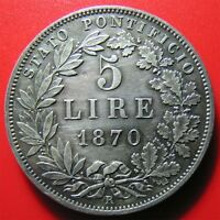 1870 VATICAN 5 LIRE SILVER PIUS IX ROME XXV R  PAPAL ITALIAN STATES OLD COIN