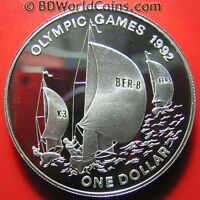 1993 BERMUDA $1 DOLLAR .94OZ SILVER PROOF SAIL BOAT 1992 BARCELONA OLYMPIC GAMES