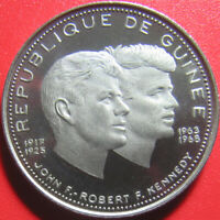 1969 GUINEA 200 FRANCS SILVER PROOF JOHN ROBERT KENNEDY JFK COLLECTABLE 30MM