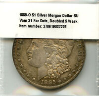 1885-O $1 SILVER MORGAN DOLLAR BU VAM 21 INCREDIBLE RAINBOW TONE PEACH REVERSE