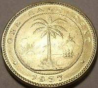 GEM UNC LIBERIA 1937 HALF CENT 1ST COIN EVER MINTED BY LIBERIA ELEPHANT F/S