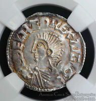 GREAT BRITAIN 1 PENNY 978 1016 AU58 NGC SILVER S1151 ANGLO SAXON AETHELRED II.