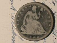 1868 S SEATED LIBERTY HALF DOLLAR   OLD US SILVER TYPE COIN