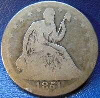 1851 O SEATED LIBERTY HALF DOLLAR GOOD G KEY DATE ORIGINAL US COIN 9524