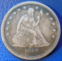1860 O SEATED LIBERTY QUARTER FINE VF ORIGINAL TONED US COIN 8086