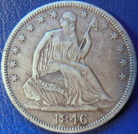 1846 SEATED LIBERTY HALF DOLLAR EXTRA FINE XF US COIN TALL DATE 10602