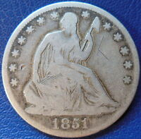 1851 O SEATED LIBERTY HALF DOLLAR GOOD VG US COIN 10240