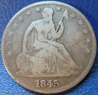 1845 SEATED LIBERTY HALF DOLLAR GOOD TO FINE US COIN SCRATCHED 10232