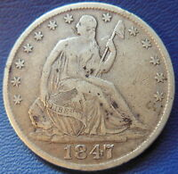 1847 O SEATED LIBERTY HALF DOLLAR FINE TO EXTRA FINE US COIN 7034