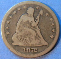 1872 SEATED LIBERTY QUARTER FINE F KEY DATE ORIGINAL TONED US COIN 5829