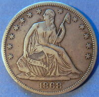 1868 S SEATED LIBERTY HALF DOLLAR EXTRA FINE XF ORIGINAL BETTER DATE COIN 6055