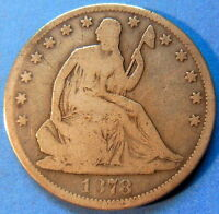 1878 SEATED LIBERTY HALF DOLLAR GOOD VG US COIN 5129