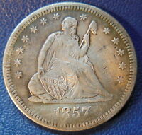 1857 O SEATED LIBERTY QUARTER EXTRA FINE XF FULL LIBERTY CLEANED COIN 8678