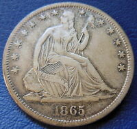 1865 S SEATED LIBERTY HALF DOLLAR FINE TO EXTRA FINE US COIN 7667