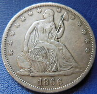 1866 S SEATED LIBERTY HALF DOLLAR EXTRA FINE TO ABOUT UNCIRCULATED US COIN 7675