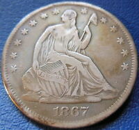 1867 S SEATED LIBERTY HALF DOLLAR FINE TO EXTRA FINE US COIN CLEANED 7681