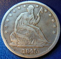1845 O WB 104 RPD SEATED LIBERTY HALF DOLLAR FINE TO FINE US COIN 8782