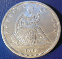 1840 HALF DOLLAR SEATED LIBERTY ABOUT UNCIRCULATED TO MINT STATE US COIN 325