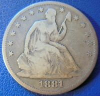 1881 SEATED LIBERTY HALF DOLLAR GOOD TO FINE P MINT PHILADELPHIA COIN 8221