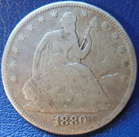 1880 SEATED LIBERTY HALF DOLLAR GOOD VG US COIN 10264