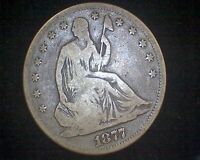 1877 S SEATED LIBERTY SILVER HALF DOLLAR 11161