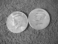 TWO 1997 D  KENNEDY HALF DOLLARS CIRCULATED