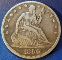 1856 O SEATED LIBERTY HALF DOLLAR EXTRA FINE XF NEW ORLEANS TONED US COIN 6965
