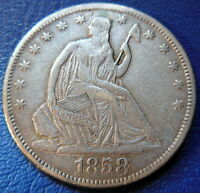 1858 S SEATED LIBERTY HALF DOLLAR EXTRA FINE XF REPAIRED KEY DATE US COIN 8794