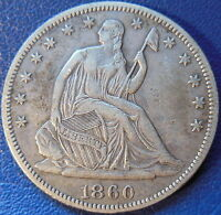 1860 HALF DOLLAR SEATED LIBERTY EXTRA FINE XF US COIN 10470