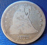 1872 SEATED LIBERTY QUARTER GOOD VG BETTER DATE US COIN ORIGINAL 9463