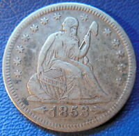1853 O SEATED LIBERTY QUARTER EXTRA FINE XF ARROWS AND RAYS US COIN 9435