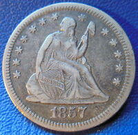 1857 O SEATED LIBERTY QUARTER EXTRA FINE XF NEW ORLEANS SCRATCHED US COIN 9441