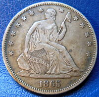 1865 SEATED LIBERTY HALF DOLLAR EXTRA FINE XF ORIGINAL TONED US COIN 8821