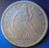 1847 O SEATED LIBERTY HALF DOLLAR EXTRA FINE TO ABOUT UNCIRCULATED US COIN 9518