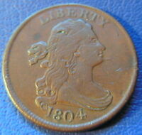 1804 SPIKED CHIN HALF CENT DRAPED BUST EXTRA FINE XF REVERSE CUDS US COIN 7376
