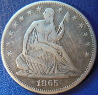 1865 HALF DOLLAR SEATED LIBERTY FINE VF US COIN CIVIL WAR DATE 10473